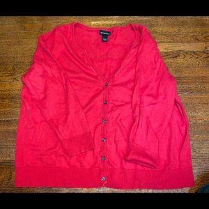 Lane Bryant red long sleeve cardigan